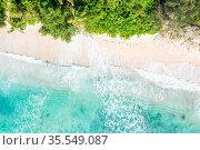 Seychelles Takamaka beach Mahe island copyspace nature vacation drone... Стоковое фото, фотограф Zoonar.com/Markus Mainka / easy Fotostock / Фотобанк Лори