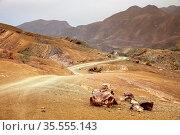 Corrugated gravel road through Draa valley, Morocco. Стоковое фото, фотограф Zoonar.com/Pawel Opaska / easy Fotostock / Фотобанк Лори