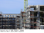 Large construction site in a newly developed residential area. Several... Стоковое фото, фотограф Udo Herrmann / easy Fotostock / Фотобанк Лори