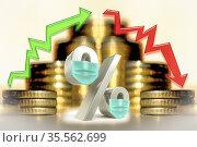 Cтрелки и символ процента в медицинской защитной маске на фоне денег. Стоковое фото, фотограф Сергеев Валерий / Фотобанк Лори