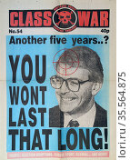 cover of Class War a publication by the British anarchist group called... Редакционное фото, агентство World History Archive / Фотобанк Лори