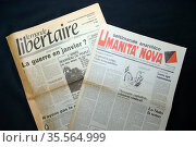 French and Italian Anarchist publications; Le Monde Libertaire and... (2020 год). Редакционное фото, агентство World History Archive / Фотобанк Лори