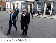British Foreign Secretary, Dominic Raab with Mike Pompeo in Downing... (2020 год). Редакционное фото, агентство World History Archive / Фотобанк Лори