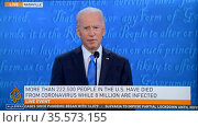 television report on Saturday, October 24, 2020 as Democratic Party... Редакционное фото, агентство World History Archive / Фотобанк Лори