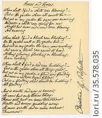 Manuscript of 'Roses and Roses', the poem by Christina Georgina Rosetti... Редакционное фото, агентство World History Archive / Фотобанк Лори