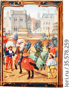June: A tournament. Early 16th century Flemish manuscript calendar. Редакционное фото, агентство World History Archive / Фотобанк Лори