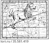 Constellation of Leo from JJ Fortin 'Atlas Coelestis de Flamsteed... Редакционное фото, агентство World History Archive / Фотобанк Лори