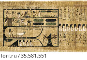 Book of the Dead on papyrus showing written hieroglyphs. Depiction... Редакционное фото, агентство World History Archive / Фотобанк Лори