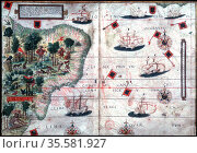 Map of Brazil by Pedro Reinel and Lopo Homen c1525. Редакционное фото, агентство World History Archive / Фотобанк Лори