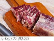 Lacon curado - Spanish national delicacy, jerky pork ham. Стоковое фото, фотограф Яков Филимонов / Фотобанк Лори