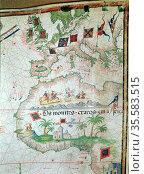 Portuguese map of 1558 by Bastian Lopez showing Europe, British Isles... Редакционное фото, агентство World History Archive / Фотобанк Лори