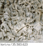 Romans in battle against the Barbarians. Scene from sarcophagus of... Редакционное фото, агентство World History Archive / Фотобанк Лори