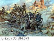 To the Victors!' British troops man-handling a captured German Field... Редакционное фото, агентство World History Archive / Фотобанк Лори
