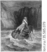 Charon the ferryman rowing to collect Dante and his guide, Virgil... Редакционное фото, агентство World History Archive / Фотобанк Лори