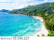 Seychelles Takamaka beach Mahe island landscape scenery drone view... Стоковое фото, фотограф Zoonar.com/Markus Mainka / easy Fotostock / Фотобанк Лори