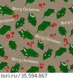 Seamless Christmas texture with holly leaves. Vector illustration... Стоковое фото, фотограф Zoonar.com/yunna gorskaya / easy Fotostock / Фотобанк Лори