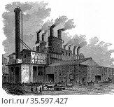 Blast furnaces at the Phoenix Iron and Bridge Works, Phoenixville... Редакционное фото, агентство World History Archive / Фотобанк Лори