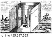 Camera Obscura. From Athanasius Kircher 'Ars Magna', Amsterdam, 1671. Редакционное фото, агентство World History Archive / Фотобанк Лори