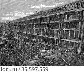 Union Pacific Railroad: Wooden trestle bridge at Dale Creek. All ... Редакционное фото, агентство World History Archive / Фотобанк Лори
