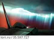 Aurora Australis (curtain form) viewed from Space Shuttle Endeavour... Редакционное фото, агентство World History Archive / Фотобанк Лори