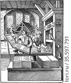 The Printer's Workshop. Woodcut by Jost Amman from Hartmann Schopper... Редакционное фото, агентство World History Archive / Фотобанк Лори