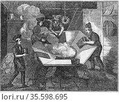 Beaver hats; 'felting' the body of the hats in the 'kettle'. Mercury... Редакционное фото, агентство World History Archive / Фотобанк Лори