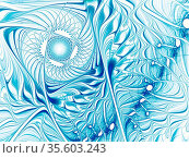 White and blue fractal pattern. Pale abstract background. Computer... Стоковое фото, фотограф Zoonar.com/Olga Gavrilenko / easy Fotostock / Фотобанк Лори