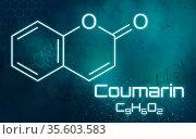 Chemical formula of Coumarin on a futuristic background. Стоковое фото, фотограф Zoonar.com/Boris Zerwann / easy Fotostock / Фотобанк Лори