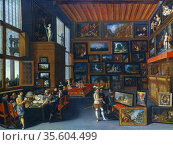 Connoisseurs in a Picture Gallery' . Flemish School c1620. Редакционное фото, агентство World History Archive / Фотобанк Лори