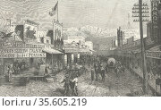 Street scene in an American frontier town c1875. Engraving. Редакционное фото, агентство World History Archive / Фотобанк Лори