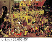 The Fight Between Carnival and Lent', 1559:  The annual Flemish pre... Редакционное фото, агентство World History Archive / Фотобанк Лори