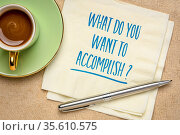 What do you want to accomplish? Inspirational question on a napkin... Стоковое фото, фотограф Zoonar.com/Marek Uliasz / easy Fotostock / Фотобанк Лори