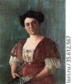 Portrait of Madame Hasen'1908. Oil on canvas. Felix Edouard Vallotton... Редакционное фото, агентство World History Archive / Фотобанк Лори