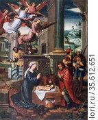Nativity' Oil on Wood. Ambrosius Benson (c1495-1550) Flemish Northern... Редакционное фото, агентство World History Archive / Фотобанк Лори
