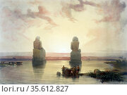 The Statues of Memnon, Thebes, During the Inundations', Watercolour... Редакционное фото, агентство World History Archive / Фотобанк Лори
