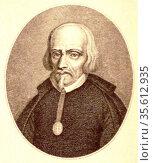 Portrait engraving of Pedro Calderon de la Barca y Henao (1600-1681... Редакционное фото, агентство World History Archive / Фотобанк Лори