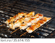 The barbecuing squid on skewers with spicy sauce. Стоковое фото, фотограф Володина Ольга / Фотобанк Лори