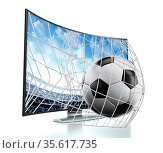 Ball and net going out of 3D curved TV with OLED screen. Стоковое фото, фотограф Zoonar.com/Cigdem Simsek / easy Fotostock / Фотобанк Лори