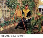 Young woman painting by Félix Edouard Vallotton (December 28, 1865... Редакционное фото, агентство World History Archive / Фотобанк Лори