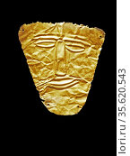 Gold face mask from Parthian graves found at Nineveh, Iraq. Ist Century... Редакционное фото, агентство World History Archive / Фотобанк Лори