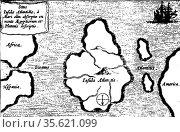 map of Atlantis from Mundus Subterraneus by Athanasius Kircher, Amsterdam... Редакционное фото, агентство World History Archive / Фотобанк Лори