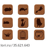 Wooden icons set with pets silhouettes. vector eps8. Стоковое фото, фотограф Zoonar.com/yunna gorskaya / easy Fotostock / Фотобанк Лори