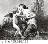 Venus and Cupid. Old 19th century engraved illustration from El Mundo... Редакционное фото, фотограф Jerónimo Alba / age Fotostock / Фотобанк Лори