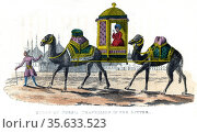 Queen of Persia in her palanquin. Engraving, 1822. Редакционное фото, агентство World History Archive / Фотобанк Лори