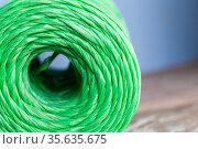 Skein of green polypropylene cord, closeup. Стоковое фото, фотограф EugeneSergeev / Фотобанк Лори