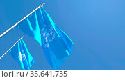 3D rendering of the flag of International Meteorological Organization... Стоковое фото, фотограф Zoonar.com/Aleksey Butenkov / easy Fotostock / Фотобанк Лори