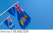 3D rendering of the national flag of Cayman Islands in the wind against... Стоковое фото, фотограф Zoonar.com/Aleksey Butenkov / easy Fotostock / Фотобанк Лори