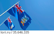 3D rendering of the national flag of Falkland Islands waving in the... Стоковое фото, фотограф Zoonar.com/Aleksey Butenkov / easy Fotostock / Фотобанк Лори