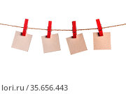 Four paper blank notes hanging on the rope isolated on white background... Стоковое фото, фотограф Zoonar.com/Ivan Mikhaylov / easy Fotostock / Фотобанк Лори