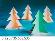 Eco Concept Christmas Trees Made From Paper. Winter Holiday Card.... Стоковое фото, фотограф Ryhor Bruyeu / easy Fotostock / Фотобанк Лори